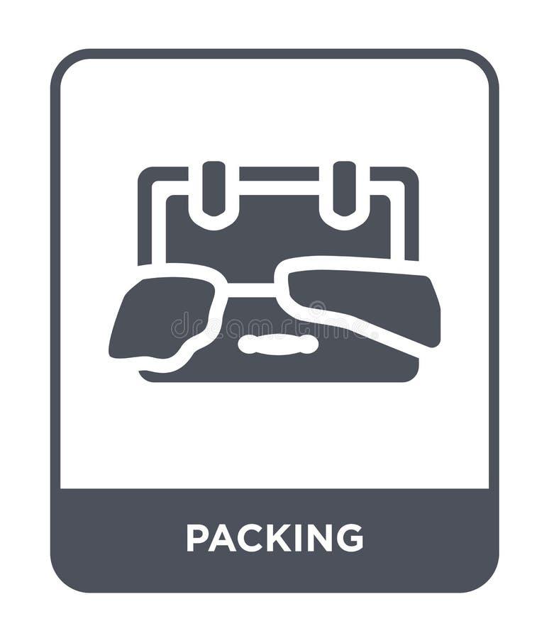在时髦设计样式的包装的象 在白色背景隔绝的包装象 包装的传染媒介象简单和现代平的标志 向量例证