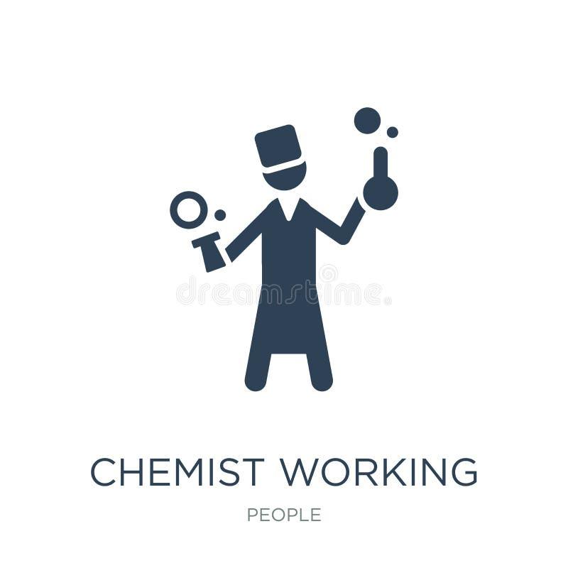 在时髦设计样式的化学家运作的象 在白色背景隔绝的化学家运作的象 简单化学家运作的传染媒介的象 库存例证