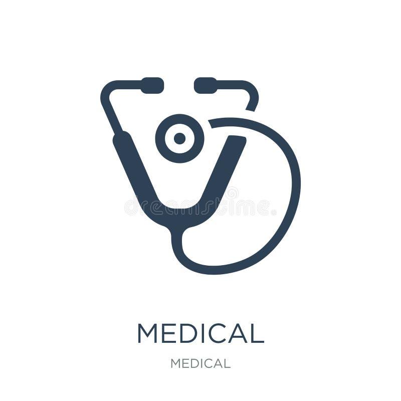 在时髦设计样式的医疗听诊器象 在白色背景隔绝的医疗听诊器象 医疗听诊器传染媒介 向量例证