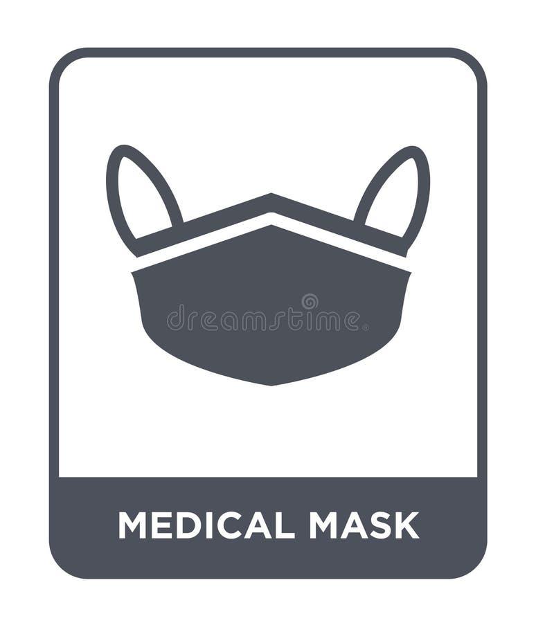 在时髦设计样式的医疗面具象 在白色背景隔绝的医疗面具象 简单医疗面具传染媒介的象和 库存例证