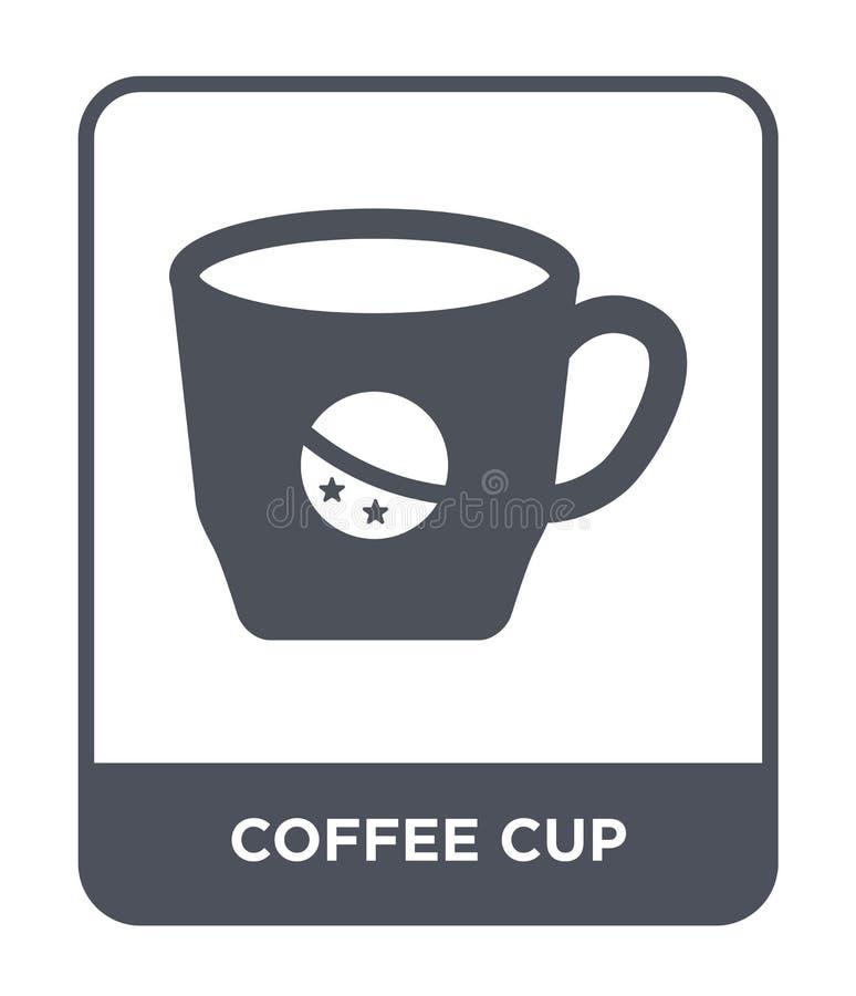 在时髦设计样式的咖啡杯象 在白色背景隔绝的咖啡杯象 咖啡杯现代传染媒介的象简单和 皇族释放例证
