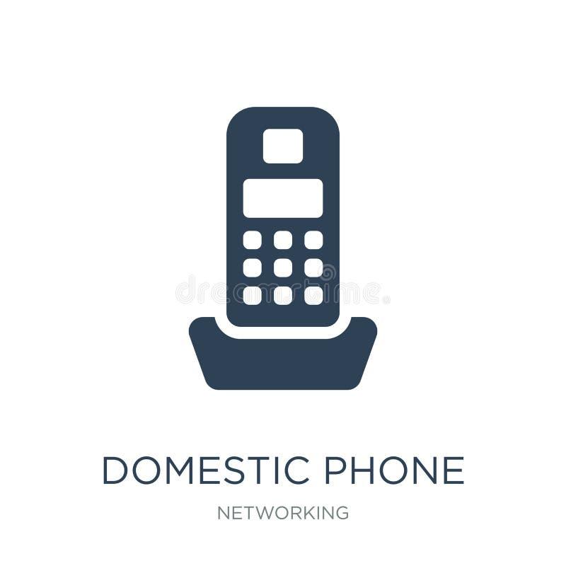 在时髦设计样式的国内电话象 在白色背景隔绝的国内电话象 简单国内电话传染媒介的象 库存例证