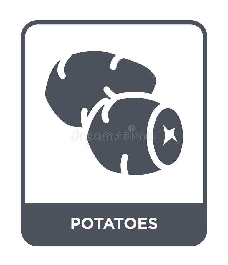 在时髦设计样式的土豆象 在白色背景隔绝的土豆象 土豆传染媒介象简单和现代舱内甲板 皇族释放例证