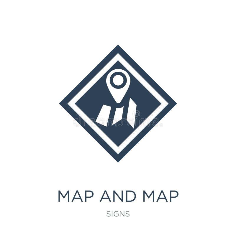 在时髦设计样式的地图和地图尖象 在白色背景隔绝的地图和地图尖象 地图和地图尖传染媒介 向量例证