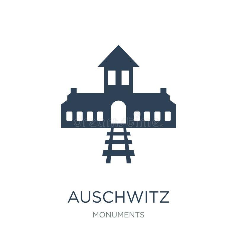 在时髦设计样式的奥斯威辛象 在白色背景隔绝的奥斯威辛象 奥斯威辛传染媒介象简单和现代舱内甲板 库存例证