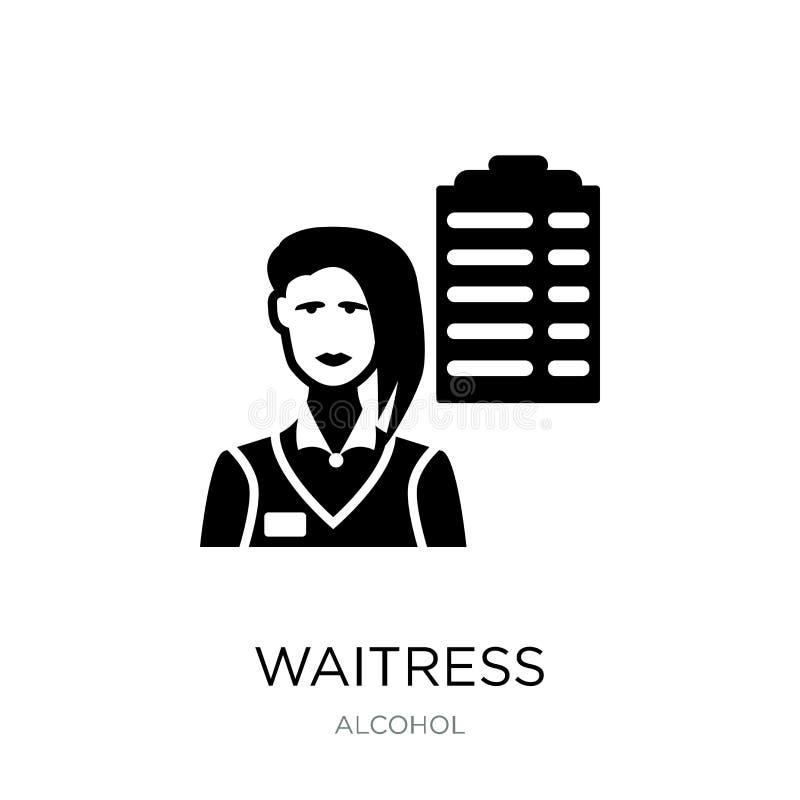 在时髦设计样式的女服务员象 在白色背景隔绝的女服务员象 女服务员传染媒介象简单和现代舱内甲板 库存例证