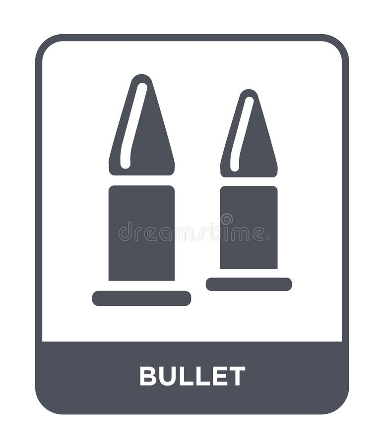 在时髦设计样式的子弹象 在白色背景隔绝的子弹象 子弹传染媒介象简单和现代平的标志为 库存例证