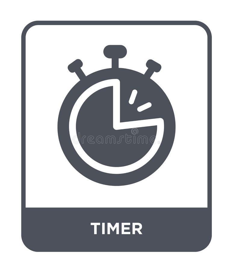 在时髦设计样式的定时器象 在白色背景隔绝的定时器象 定时器传染媒介象简单和现代平的标志为 向量例证
