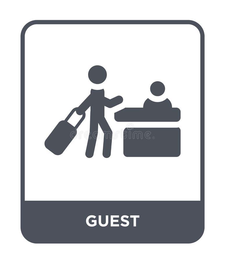 在时髦设计样式的客人象 在白色背景隔绝的客人象 客人传染媒介象简单和现代平的标志为 皇族释放例证