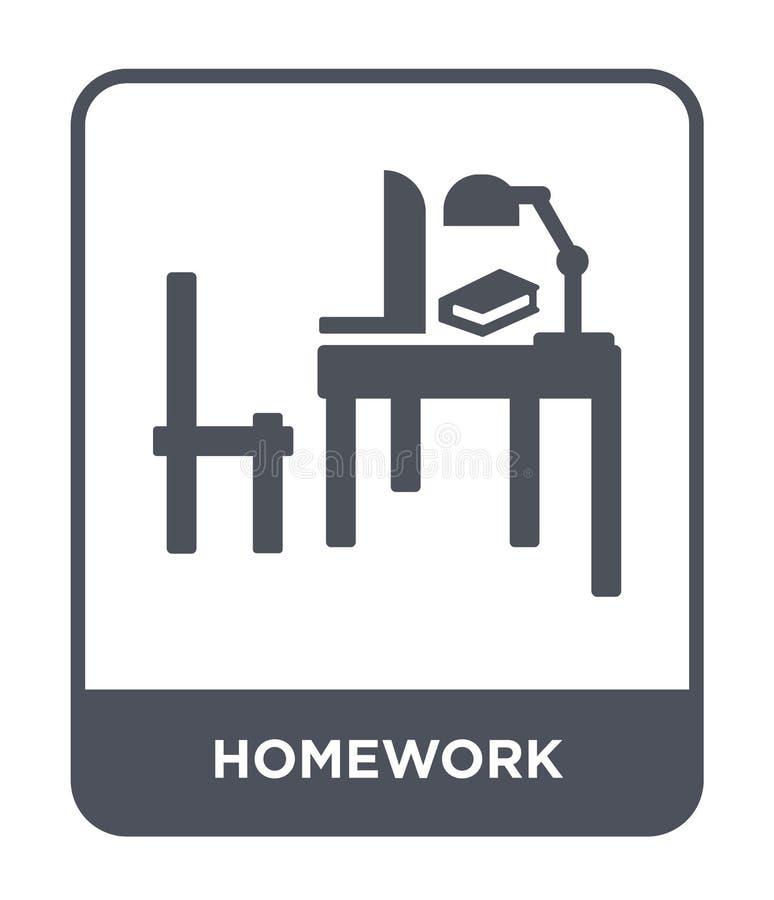 在时髦设计样式的家庭作业象 在白色背景隔绝的家庭作业象 家庭作业传染媒介象简单和现代舱内甲板 库存例证