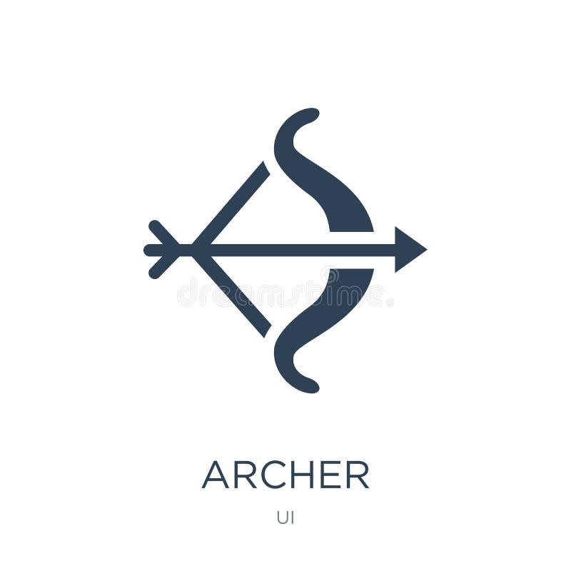 在时髦设计样式的射手象 在白色背景隔绝的阿切尔象 射手传染媒介象简单和现代平的标志为 向量例证
