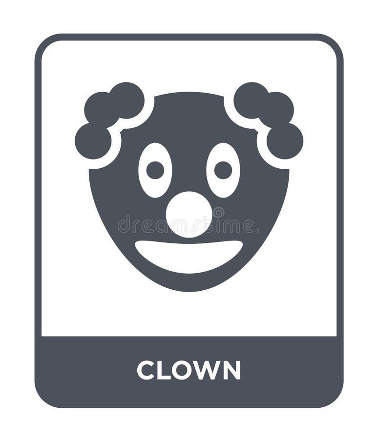 在时髦设计样式的小丑象 在白色背景隔绝的小丑象 小丑传染媒介象简单和现代平的标志为 皇族释放例证