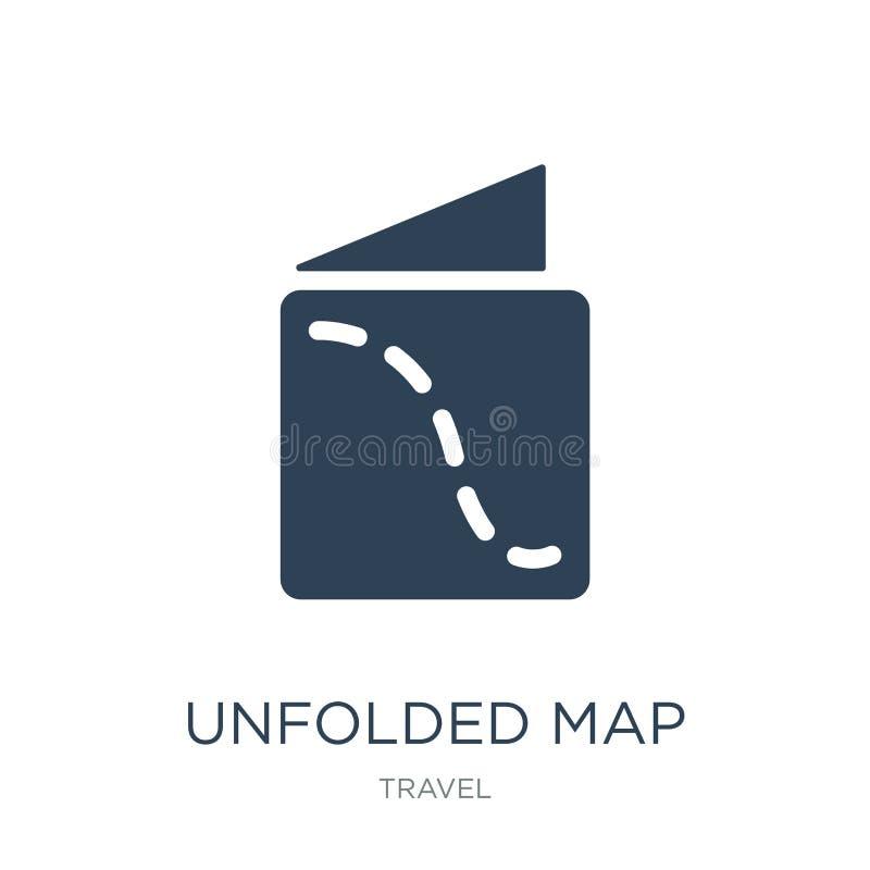在时髦设计样式的展开的地图象 在白色背景隔绝的展开的地图象 简单展开的地图传染媒介的象和 皇族释放例证