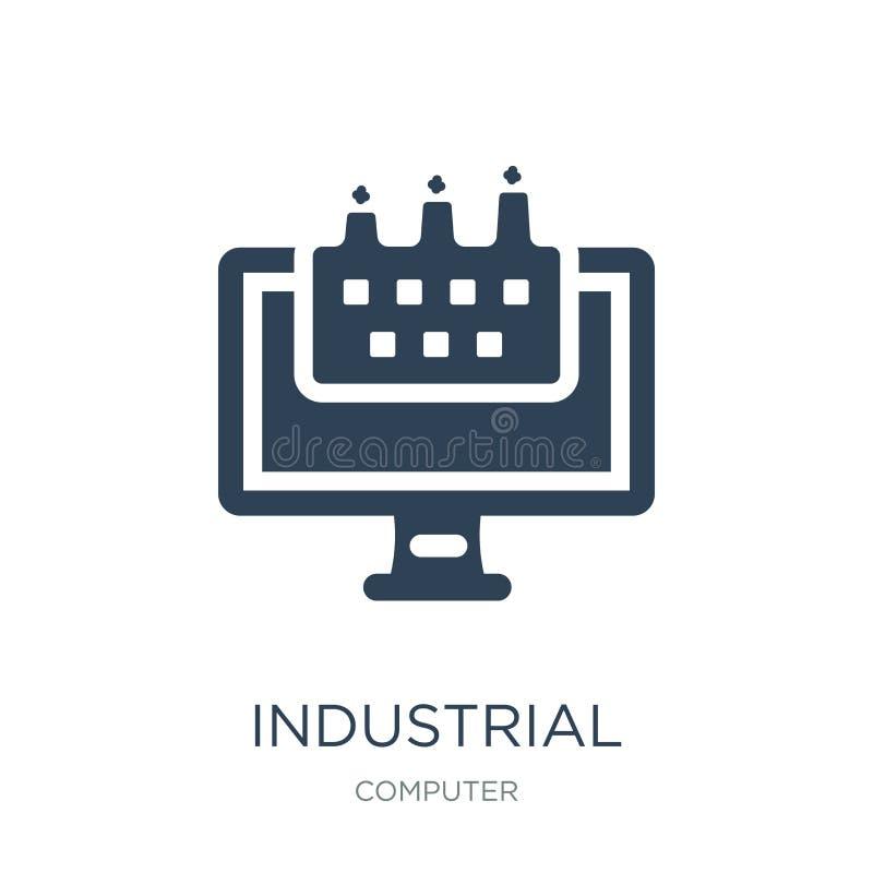 在时髦设计样式的工业象 在白色背景隔绝的工业象 现代工业传染媒介的象简单和 向量例证