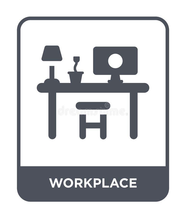 在时髦设计样式的工作场所象 在白色背景隔绝的工作场所象 工作场所传染媒介象简单和现代舱内甲板 向量例证