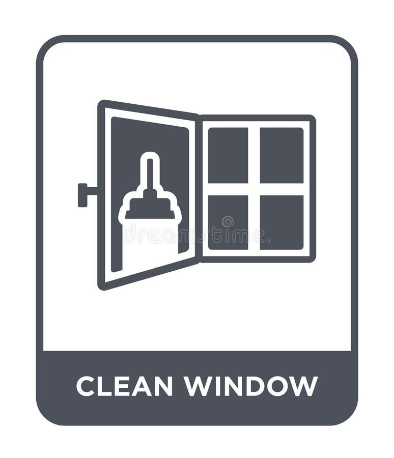 在时髦设计样式的干净的窗口象 在白色背景隔绝的干净的窗口象 简单干净的窗口传染媒介的象和 库存例证
