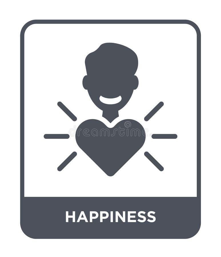 在时髦设计样式的幸福象 在白色背景隔绝的幸福象 幸福传染媒介象简单和现代舱内甲板 向量例证