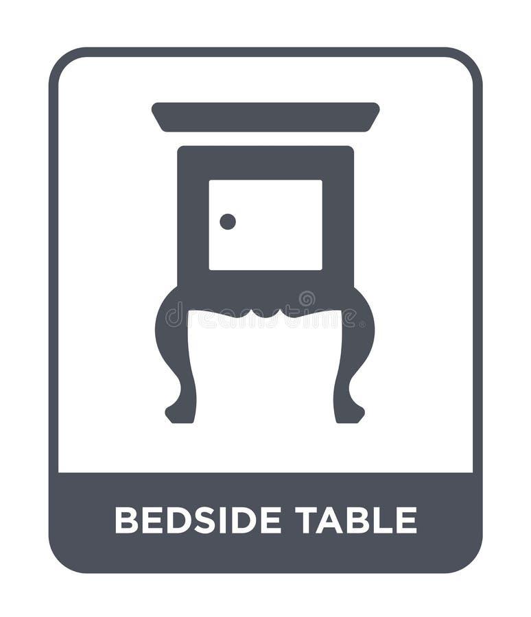 在时髦设计样式的床头柜象 在白色背景隔绝的床头柜象 床头柜简单传染媒介的象和 向量例证
