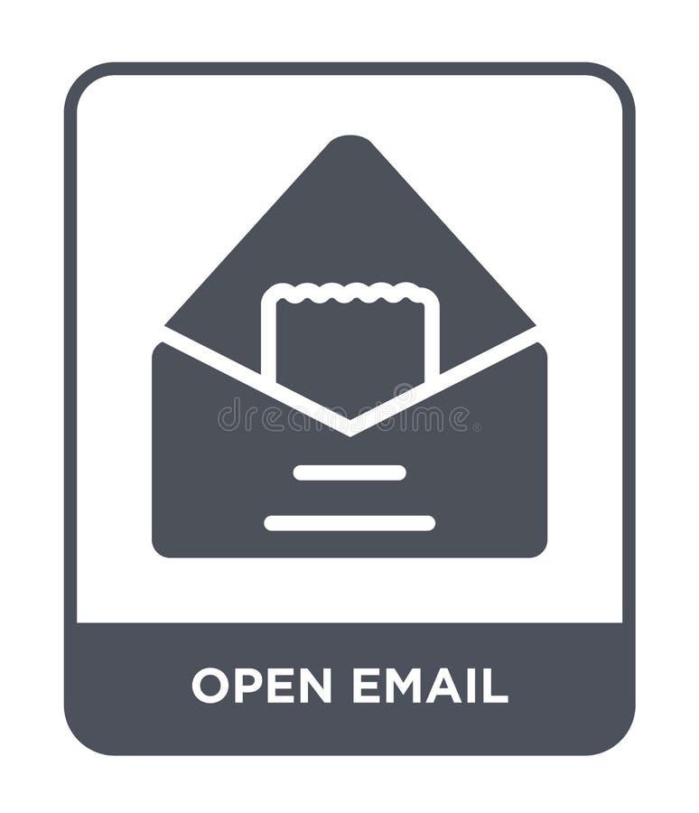 在时髦设计样式的开放电子邮件象 打开在白色背景隔绝的电子邮件象 现代开放电子邮件传染媒介的象简单和 库存例证