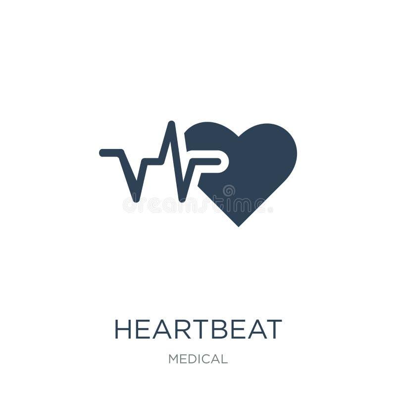 在时髦设计样式的心跳象 在白色背景隔绝的心跳象 心跳传染媒介象简单和现代舱内甲板 库存例证