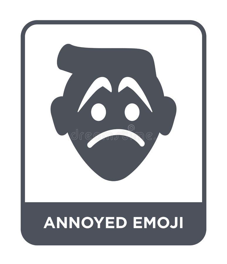 在时髦设计样式的懊恼emoji象 在白色背景隔绝的懊恼emoji象 简单懊恼emoji传染媒介的象和 向量例证