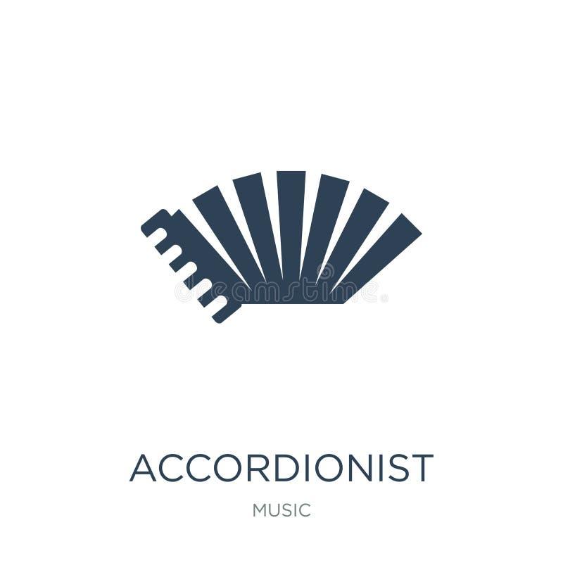 在时髦设计样式的手风琴师象 在白色背景隔绝的手风琴师象 手风琴师简单传染媒介的象和 向量例证