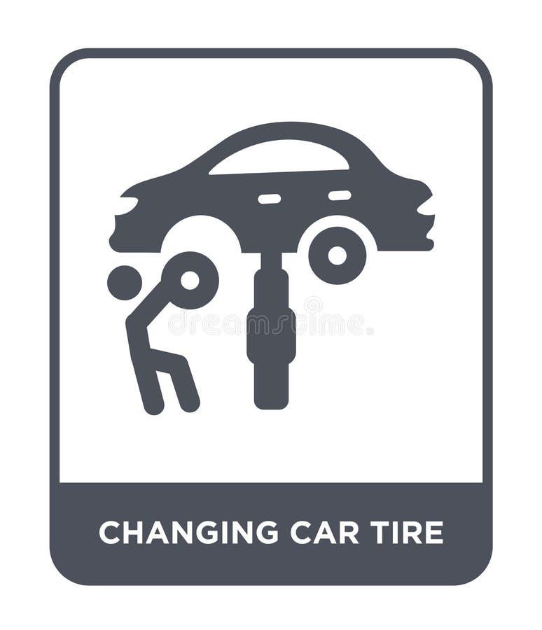 在时髦设计样式的改变的车胎象 在白色背景隔绝的改变的车胎象 改变的车胎传染媒介象 皇族释放例证