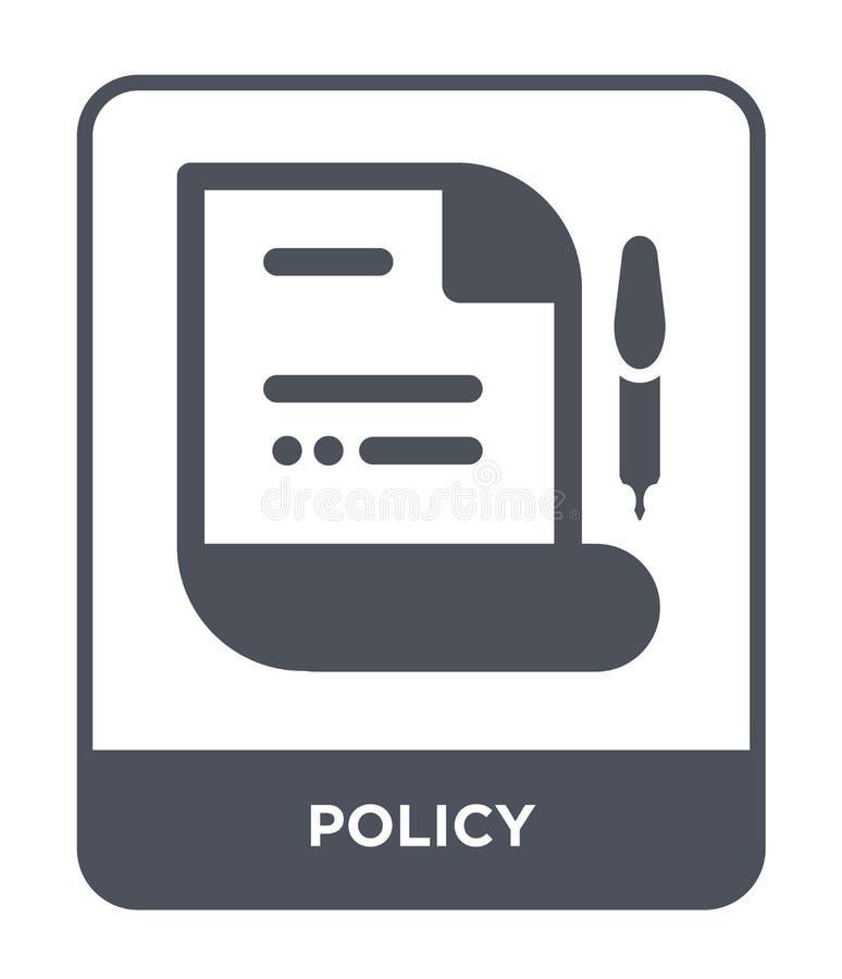 在时髦设计样式的政策象 在白色背景隔绝的政策象 政策传染媒介象简单和现代平的标志为 库存例证