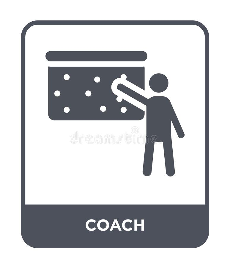 在时髦设计样式的教练象 在白色背景隔绝的教练象 教练传染媒介象简单和现代平的标志为 向量例证
