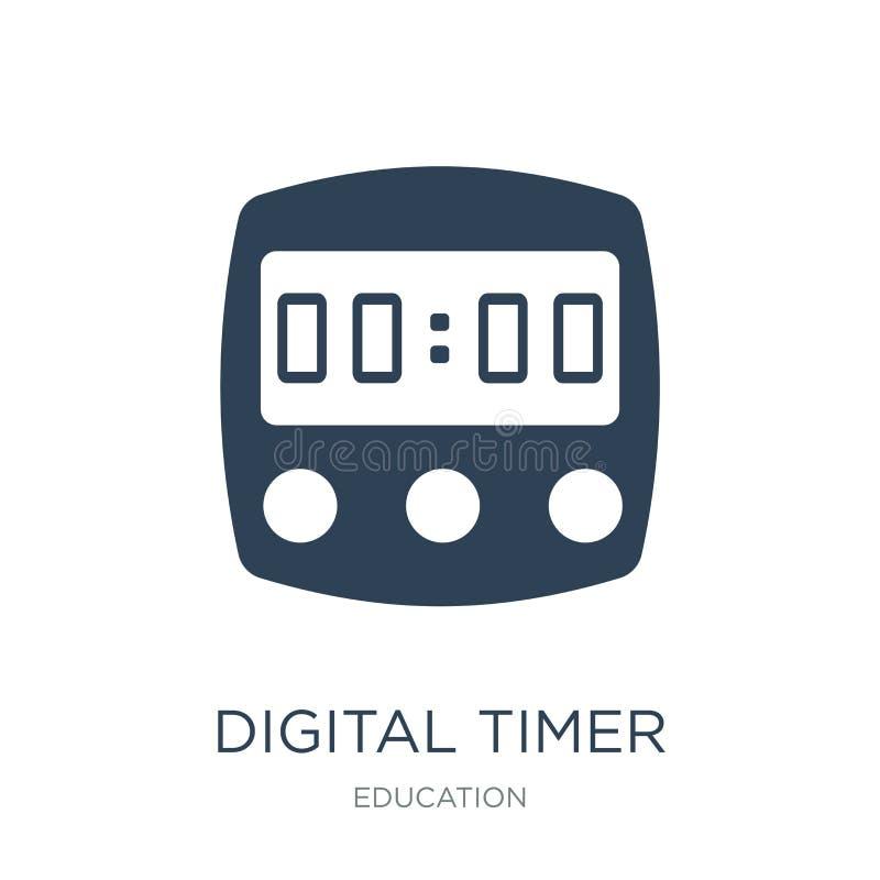 在时髦设计样式的数字定时器象 在白色背景隔绝的数字定时器象 简单数字定时器传染媒介的象和 库存例证