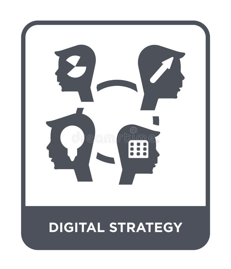 在时髦设计样式的数字战略象 在白色背景隔绝的数字战略象 数字战略传染媒介象 库存例证
