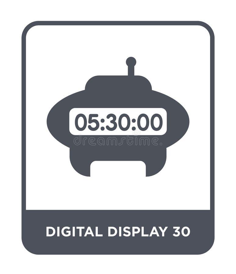 在时髦设计样式的数字显示30象 在白色背景隔绝的数字显示30象 数字显示30传染媒介 库存例证