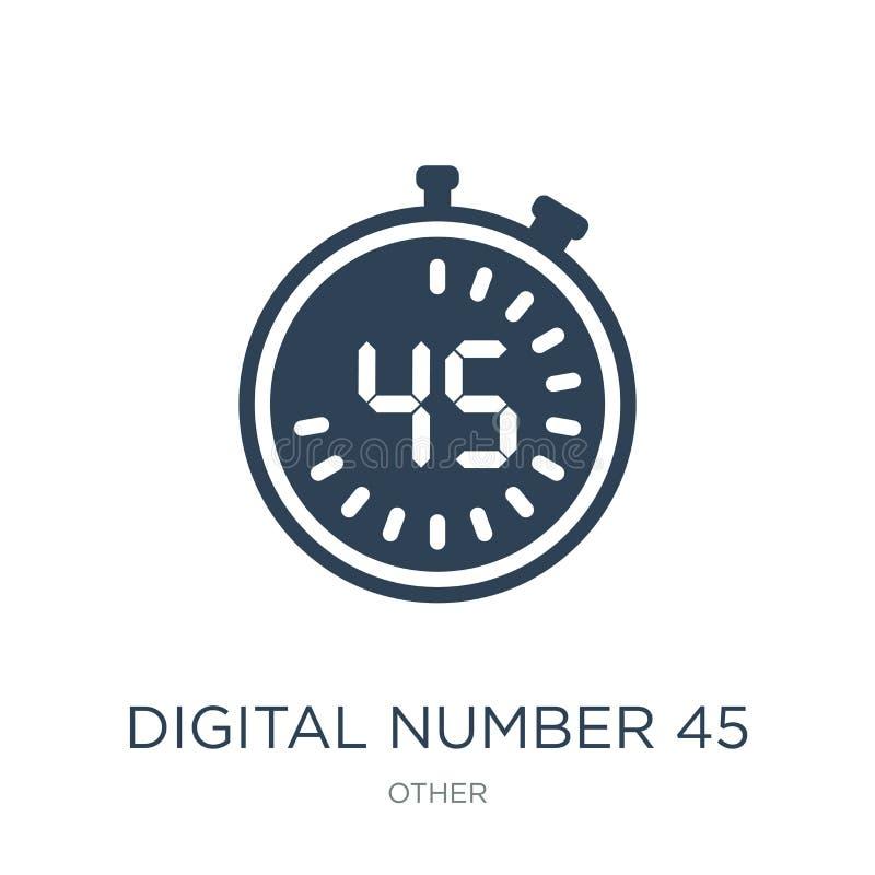 在时髦设计样式的数字第45象 在白色背景隔绝的数字第45象 数字第45传染媒介象 皇族释放例证