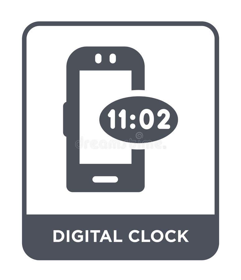 在时髦设计样式的数字钟象 在白色背景隔绝的数字钟象 数字钟简单传染媒介的象和 皇族释放例证
