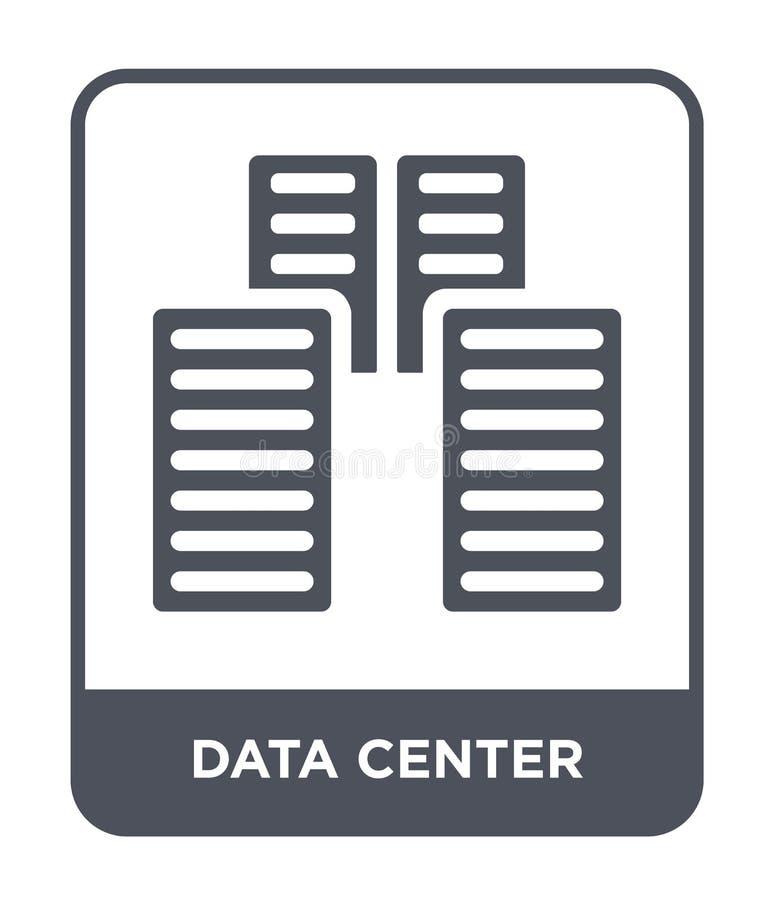 在时髦设计样式的数据中心象 在白色背景隔绝的数据中心象 数据中心现代传染媒介的象简单和 向量例证