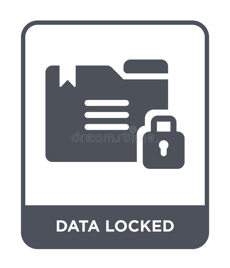 在时髦设计样式的数据锁着的象 在白色背景隔绝的数据锁着的象 现代数据锁着的传染媒介的象简单和 向量例证