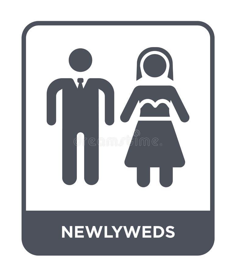 在时髦设计样式的新婚佳偶象 在白色背景隔绝的新婚佳偶象 新婚佳偶传染媒介象简单和现代舱内甲板 库存例证