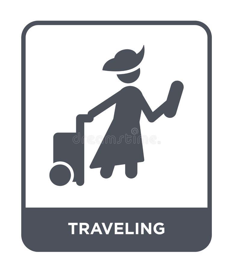 在时髦设计样式的旅行的象 在白色背景隔绝的旅行的象 旅行的传染媒介象简单和现代舱内甲板 皇族释放例证