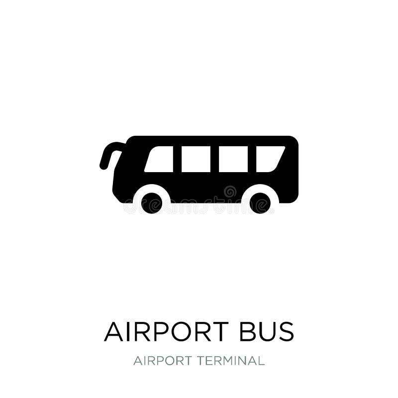 在时髦设计样式的机场大巴象 在白色背景隔绝的机场大巴象 机场大巴现代传染媒介的象简单和 皇族释放例证