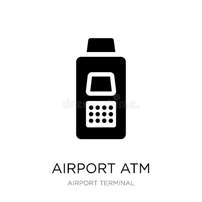 在时髦设计样式的机场atm象 在白色背景隔绝的机场atm象 机场atm现代传染媒介的象简单和 向量例证