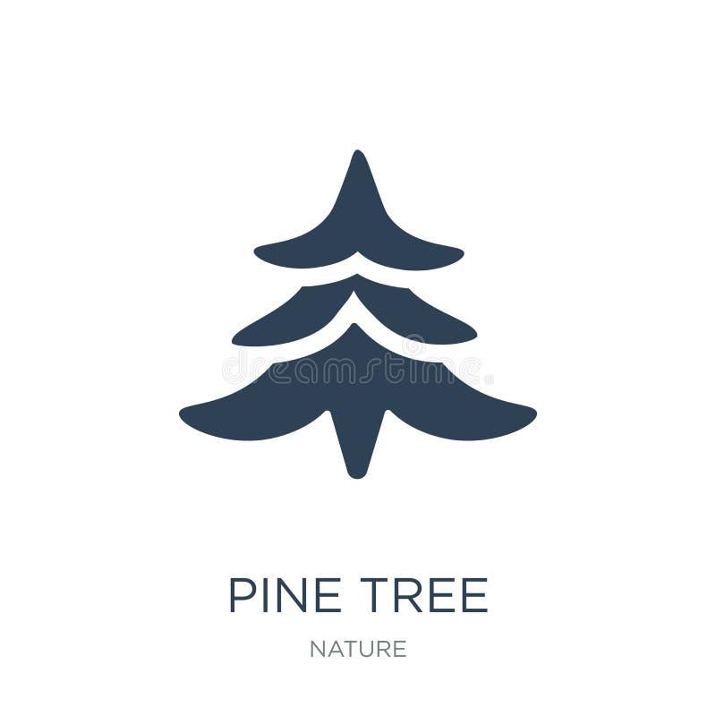 在时髦设计样式的松树象 在白色背景隔绝的杉树象 松树传染媒介象简单和现代舱内甲板 向量例证