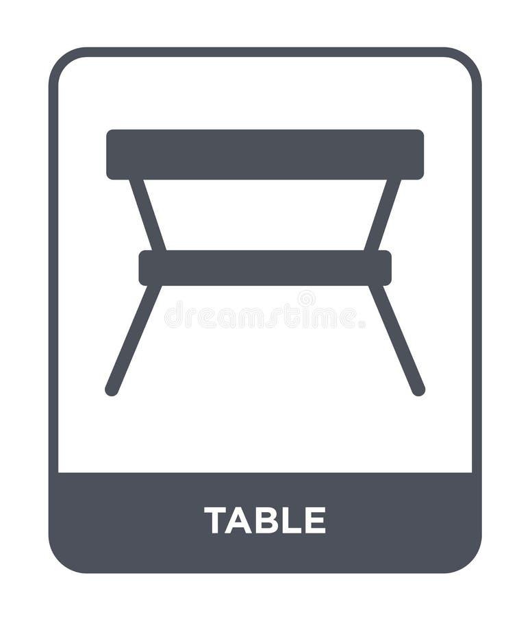 在时髦设计样式的桌象 在白色背景隔绝的表象 桌传染媒介象简单和现代平的标志为 皇族释放例证