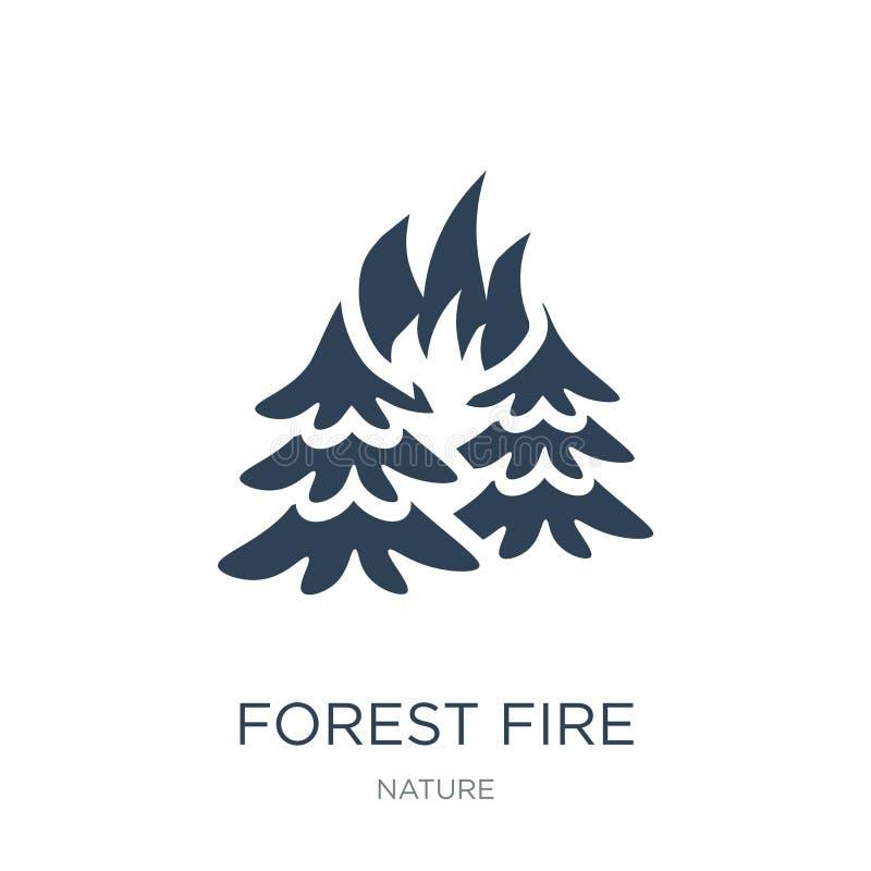 在时髦设计样式的森林火灾象 在白色背景隔绝的森林火灾象 森林火灾现代传染媒介的象简单和 向量例证