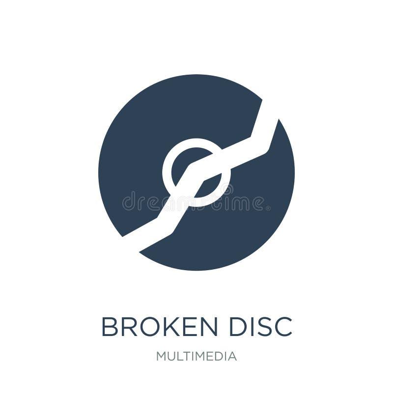 在时髦设计样式的残破的圆盘象 在白色背景隔绝的打破的圆盘象 现代残破的圆盘传染媒介的象简单和 向量例证