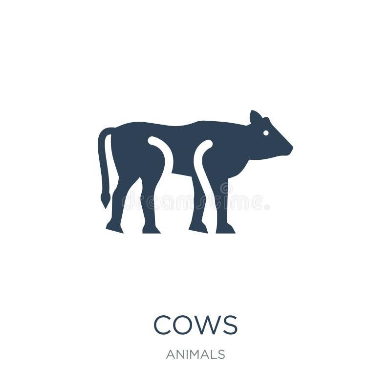 在时髦设计样式的母牛象 在白色背景隔绝的母牛象 网的母牛传染媒介象简单和现代平的标志 向量例证