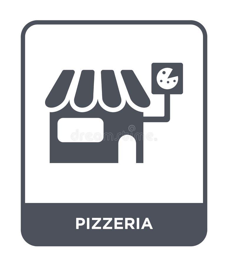 在时髦设计样式的比萨店象 在白色背景隔绝的比萨店象 比萨店传染媒介象简单和现代舱内甲板 皇族释放例证