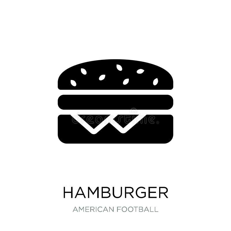 在时髦设计样式的汉堡包象 在白色背景隔绝的汉堡包象 汉堡包传染媒介象简单和现代舱内甲板 向量例证