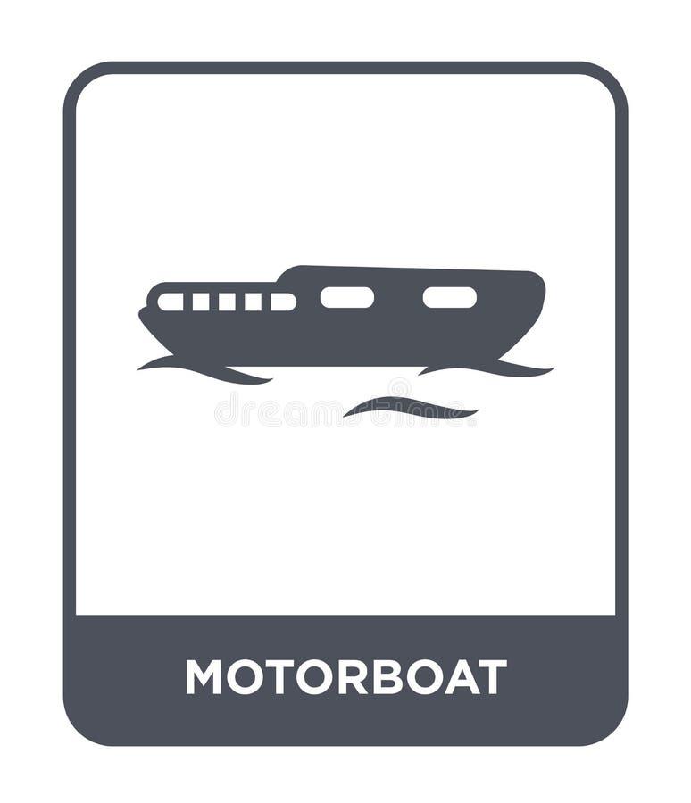 在时髦设计样式的汽艇象 在白色背景隔绝的汽艇象 汽艇传染媒介象简单和现代舱内甲板 皇族释放例证