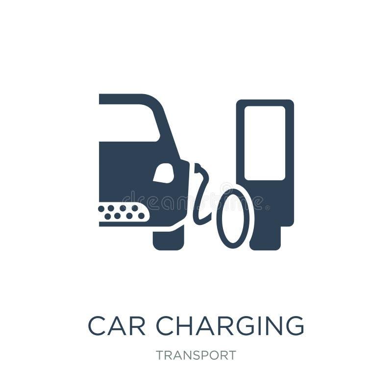 在时髦设计样式的汽车充电的象 在白色背景隔绝的汽车充电的象 简单汽车充电的传染媒介的象和 皇族释放例证