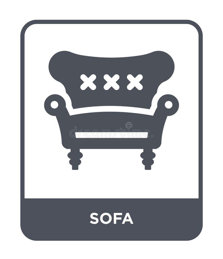 在时髦设计样式的沙发象 在白色背景隔绝的沙发象 网的沙发传染媒介象简单和现代平的标志 向量例证